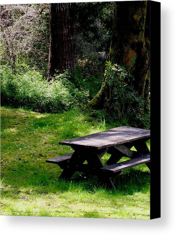 Picnic Table Canvas Print featuring the painting A Peaceful Place by Valerie Josi