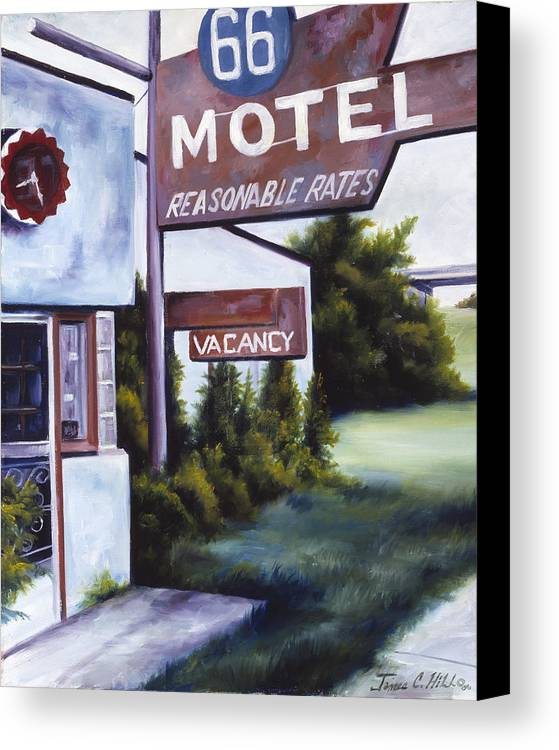 Motel; Route 66; Desert; Abandoned; Delapidated; Lost; Highway; Route 66; Road; Vacancy; Run-down; Building; Old Signage; Nastalgia; Vintage; James Christopher Hill; Jameshillgallery.com; Foliage; Sky; Realism; Oils Canvas Print featuring the painting A Road Less Traveled by James Christopher Hill