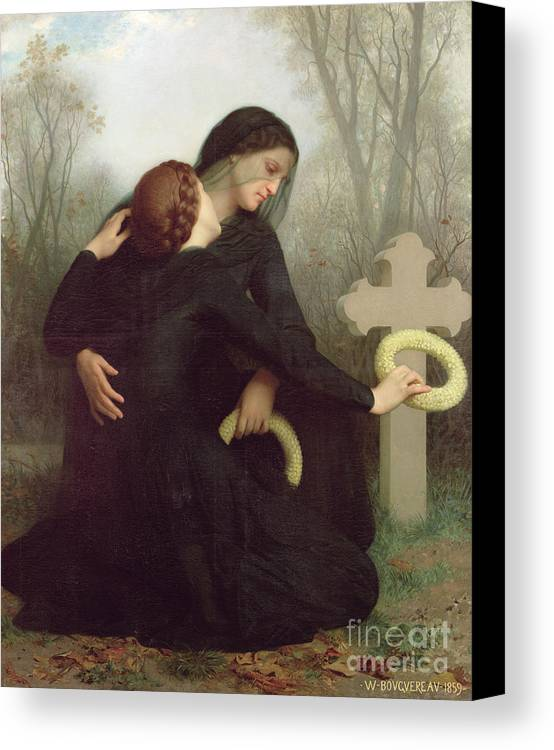 Le Jour Des Morts (all Saints Day) 1859 (oil On Canvas) By William-adolphe Bouguereau (1825-1905) Le Jour Des Morts; Female; Widow; Mourning; Grave; Cemetery; Gravestone; Tombstone; Black Veil; Child; Mother; Daughter; Sadness; Sorrow; Day Of The Dead; 1 November; Grave Canvas Print featuring the painting All Saints Day by William Adolphe Bouguereau