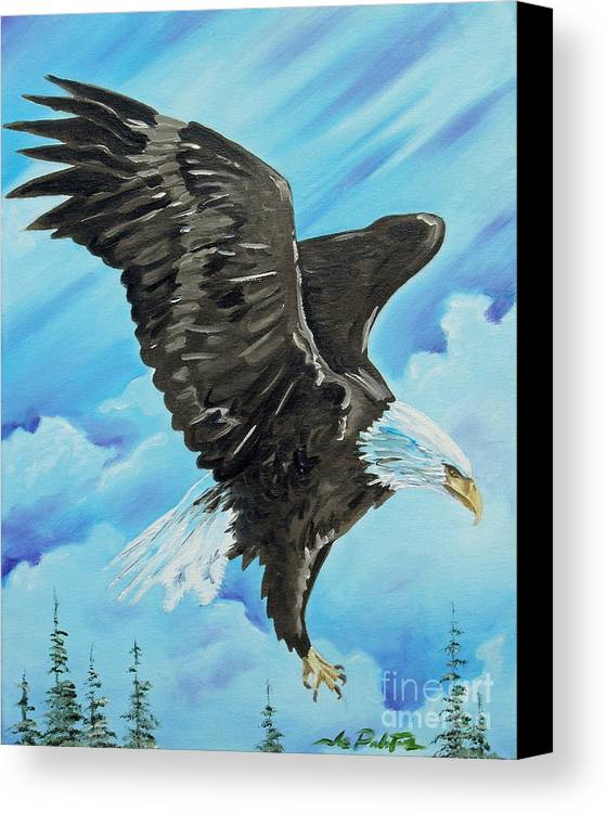 Bald Eagle Canvas Print featuring the painting American Flight by Joseph Palotas