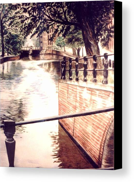 City Canal Canvas Print featuring the drawing Amsterdam by L Lauter