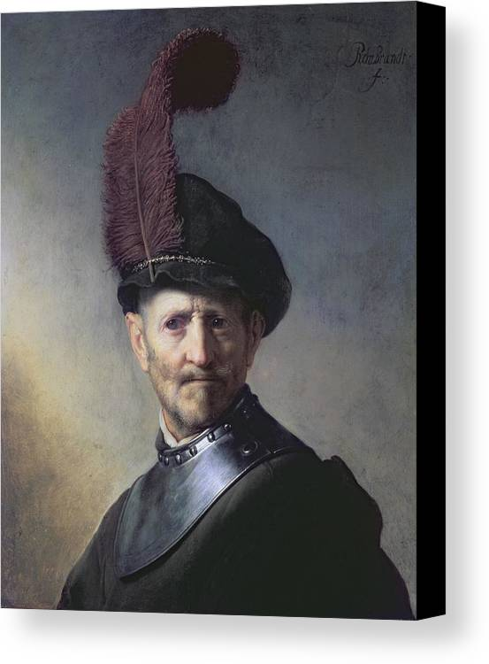 Old Canvas Print featuring the painting An Old Man In Military Costume by Rembrandt