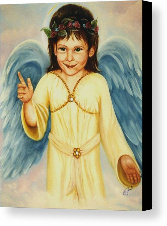 Portrait Canvas Print featuring the painting Angel In Yellow by Joni McPherson