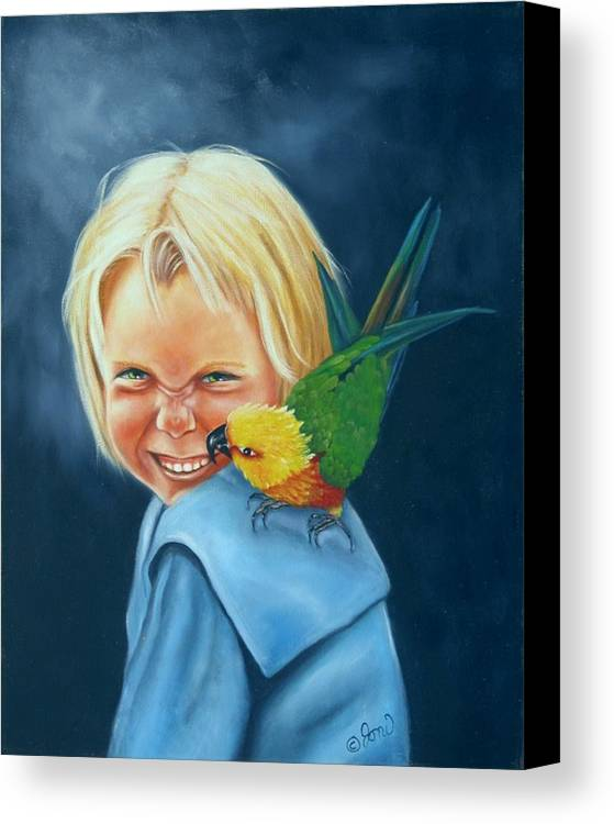 Portrait Canvas Print featuring the painting Angel On My Shoulder by Joni McPherson