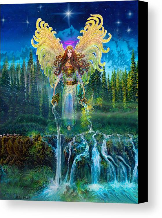 Angel Tarot Card Canvas Print featuring the painting Angel Tarot Card Archangel Jophiel by Steve Roberts