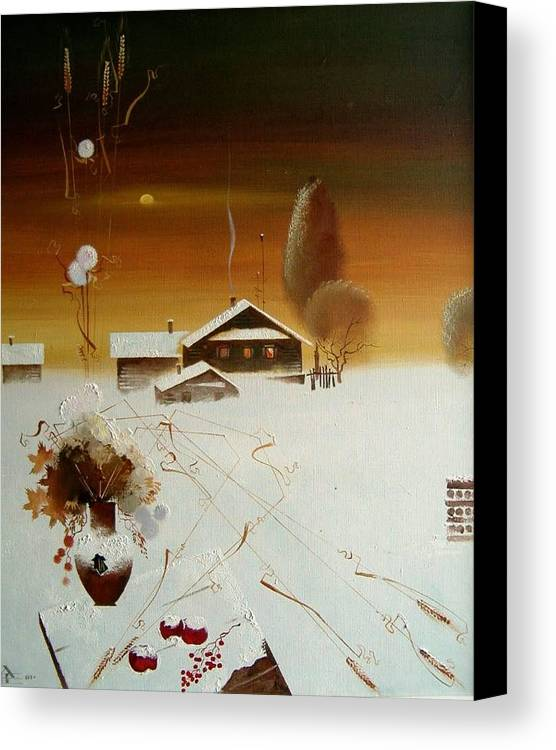 Still Life Canvas Print featuring the painting Apples On The Snow by Andrej Vystropov