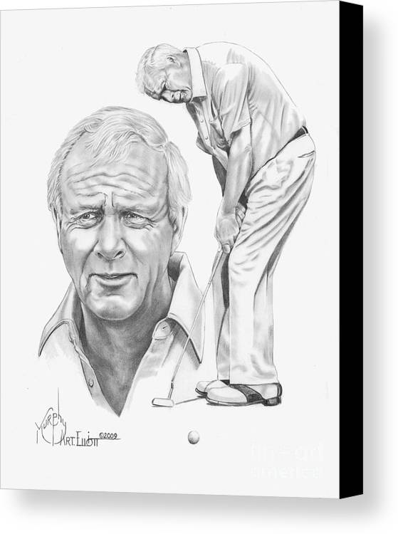 Arnold Palmer Canvas Print featuring the drawing Arnold Palmer by Murphy Elliott