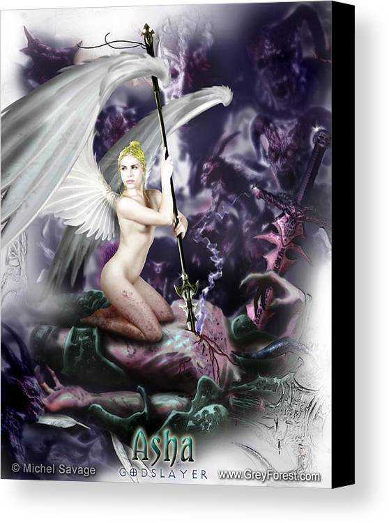 Erotic Canvas Print featuring the painting Asha - Godslayer by Michel Savage