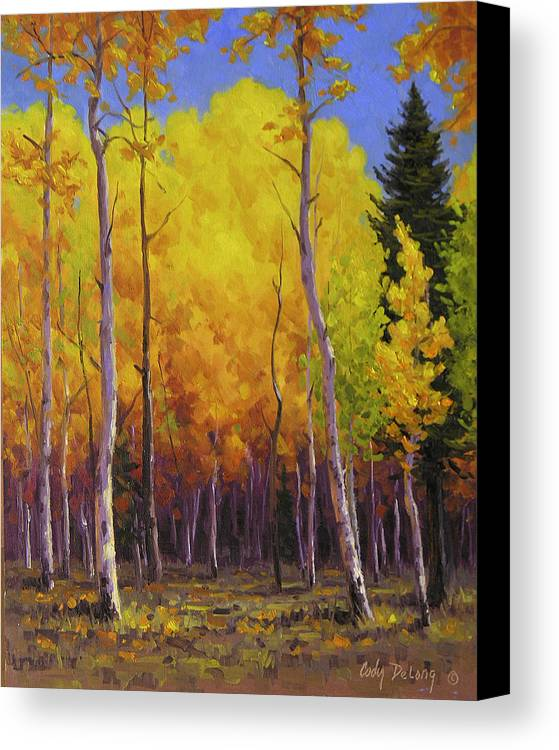 Landscape Canvas Print featuring the painting Aspen Glow by Cody DeLong