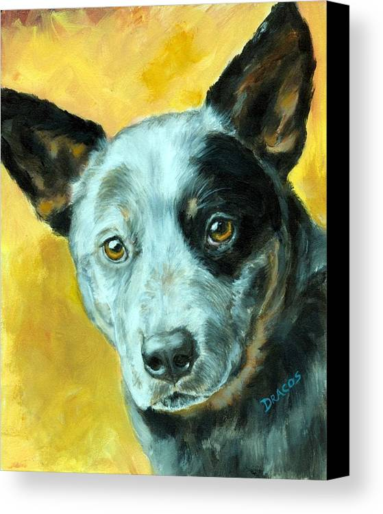 Australian Cattle Dog Canvas Print featuring the painting Australian Cattle Dog Blue Heeler On Gold by Dottie Dracos