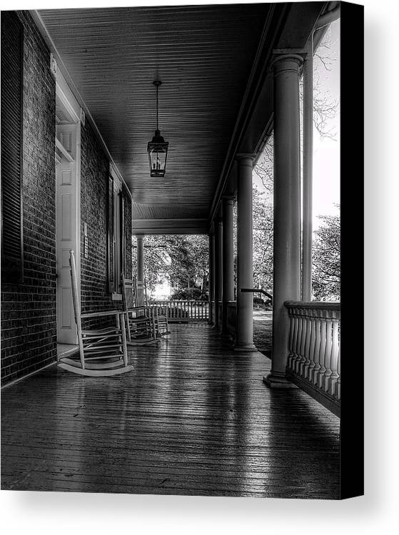 National Register Canvas Print featuring the photograph Avenel Front Porch - Bw by Steve Hurt