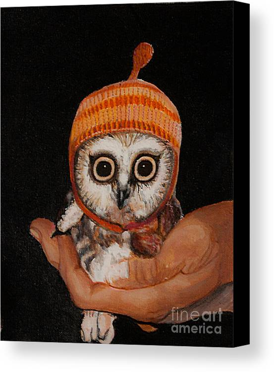 Cherry Painting Canvas Print featuring the painting Baby Owl by Kaashi Art