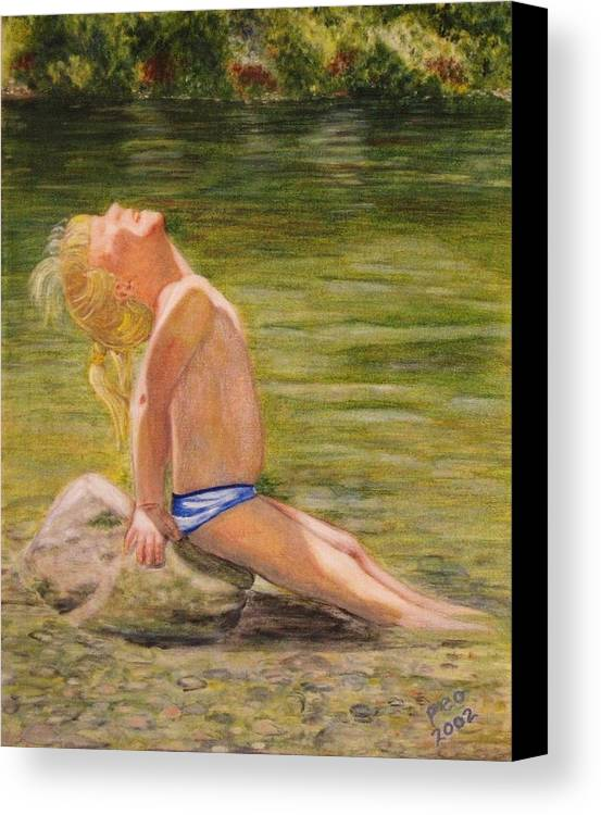 Portrait Canvas Print featuring the painting Baby Sun Goddess by Patricia Ortman