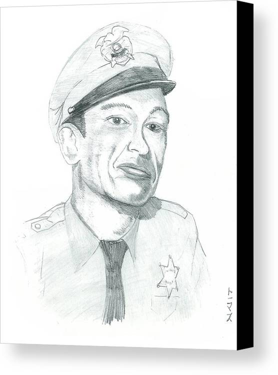 Barney Canvas Print featuring the drawing Barney Fife by Thomas Elliott