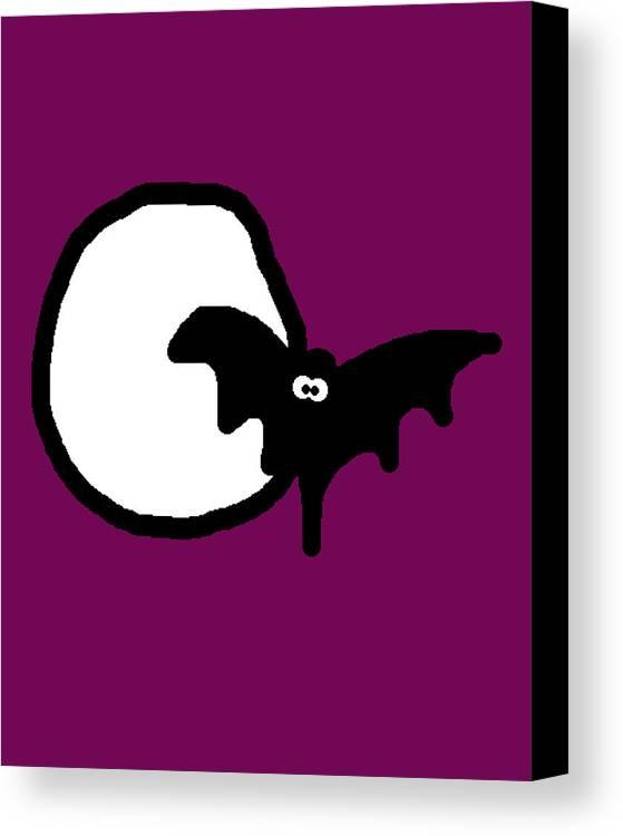 Bat Canvas Print featuring the digital art Bat N Moon by Jera Sky