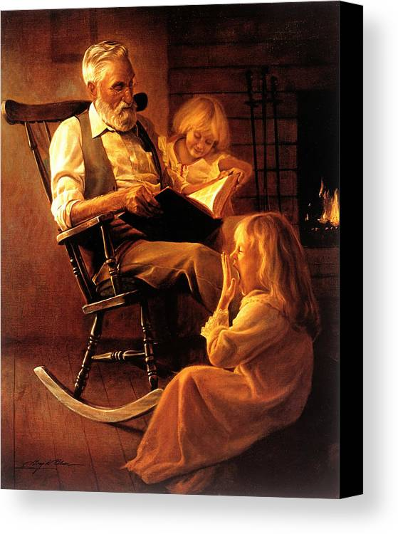 Storytime Canvas Print featuring the painting Bedtime Stories by Greg Olsen
