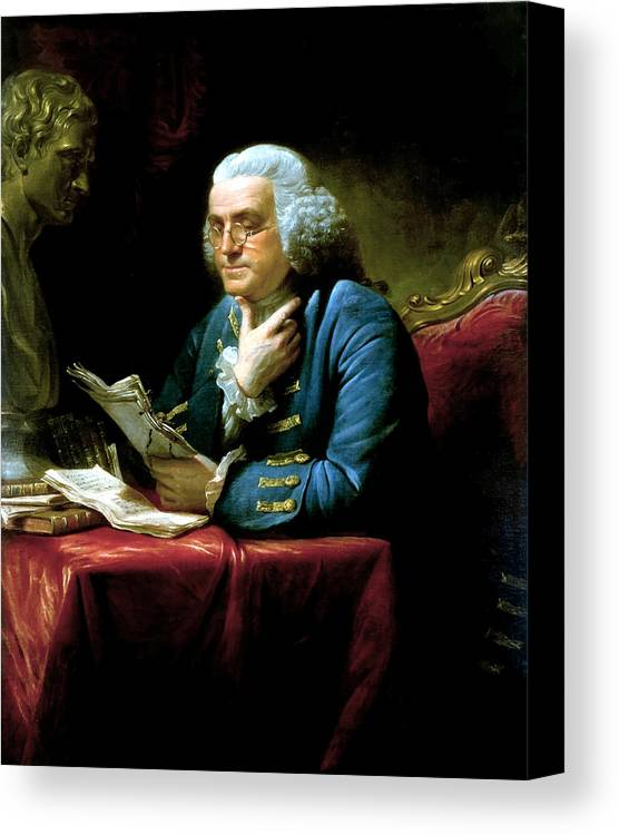 Benjamin Franklin Canvas Print featuring the painting Ben Franklin by War Is Hell Store