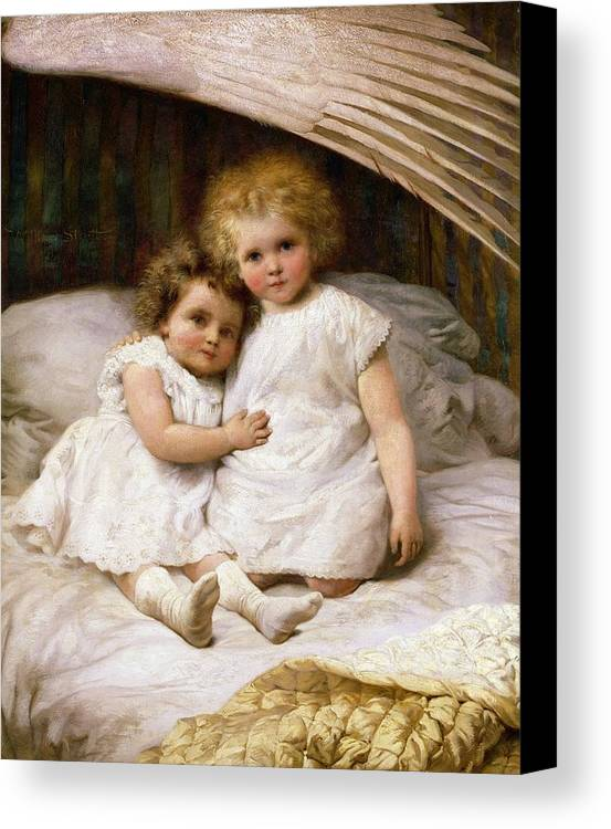 Beds; Bedchamber; Protection; Angel; Guardian Canvas Print featuring the painting Beneath The Wing Of An Angel by William Strutt