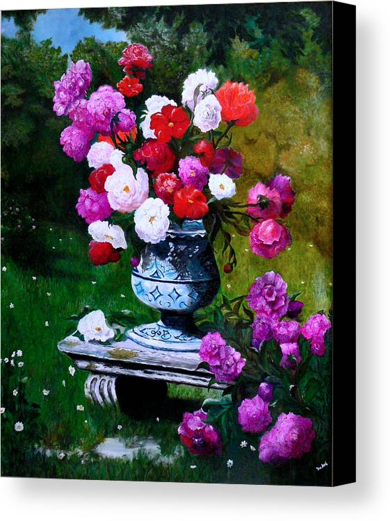 Stilllife Canvas Print featuring the painting Big Vase With Peonies by Helmut Rottler