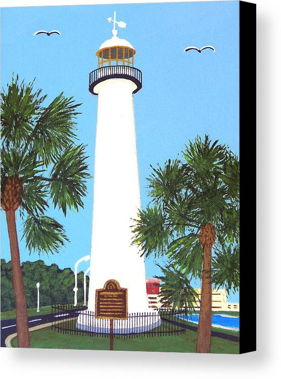 Lighthouse Paintings Canvas Print featuring the painting Biloxi Lighthouse by Frederic Kohli