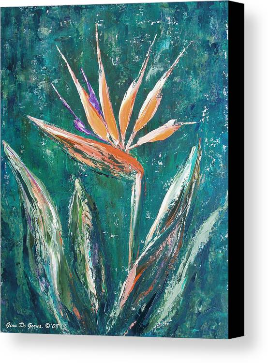 Bird Of Paradise Canvas Print featuring the painting Bird Of Paradise by Gina De Gorna