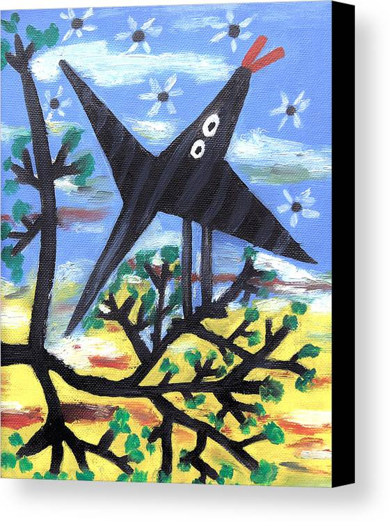 Abstract Canvas Print featuring the painting Bird On A Tree After Picasso by Alexandra Jordankova