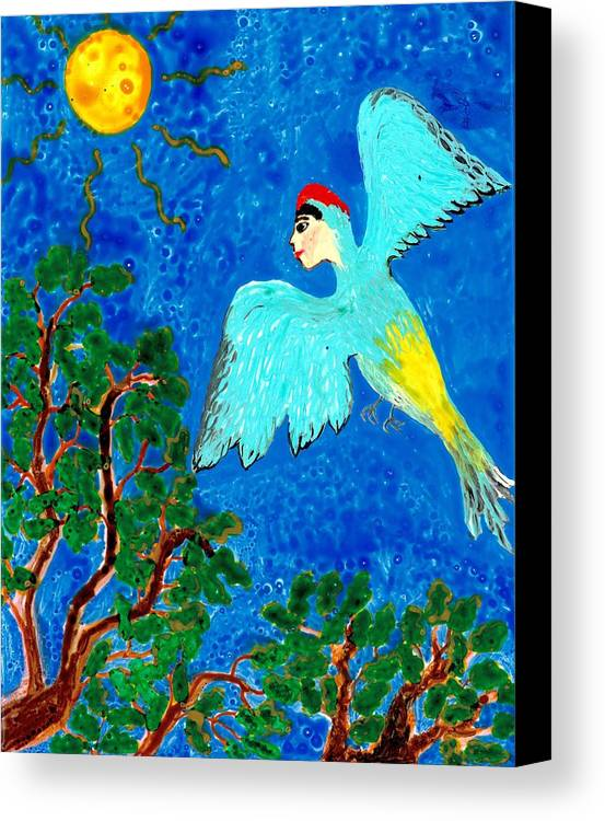 Sue Burgess Canvas Print featuring the painting Bird People Green Woodpecker by Sushila Burgess
