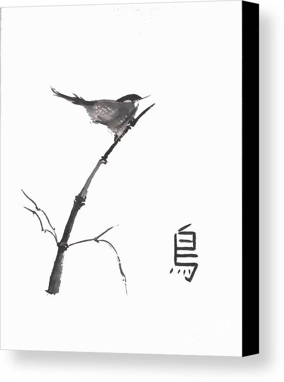 Sumi-e Canvas Print featuring the painting Bird by Sibby S