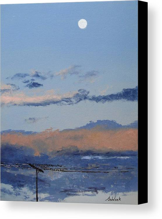 Landscape Canvas Print featuring the painting Birds On A Wire by Barbara Andolsek