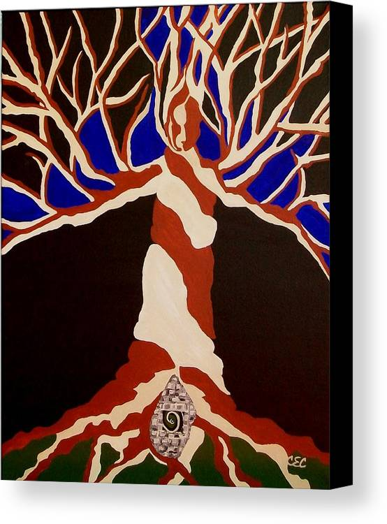 Abstract Tree Canvas Print featuring the painting Birth by Carolyn Cable