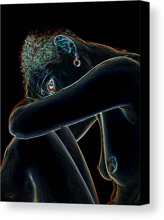 Black Canvas Print featuring the digital art Black Magic by Melody Crighton