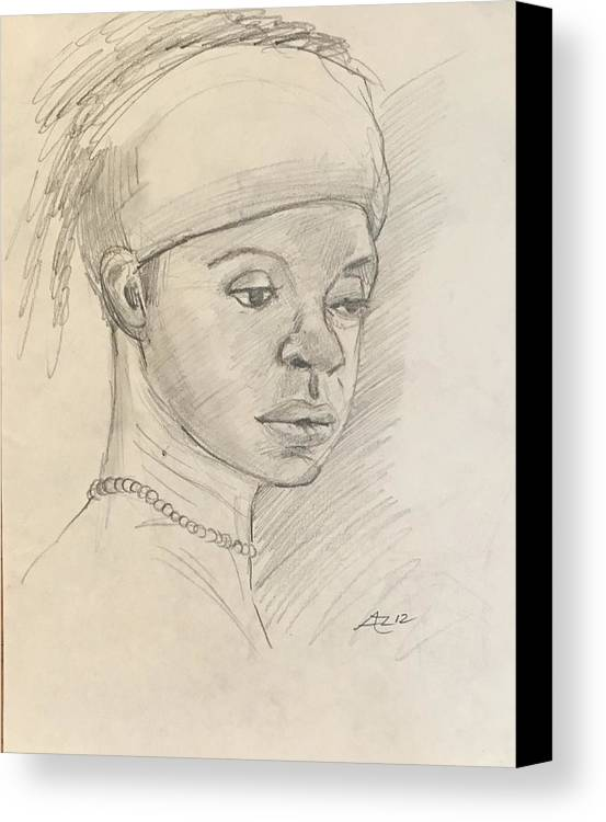 Canvas Print featuring the drawing Black Woman by Alejandro Lopez-Tasso