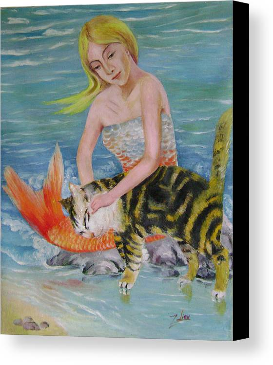 Surrealist Canvas Print featuring the painting Blond Mermaid And Cat by Lian Zhen