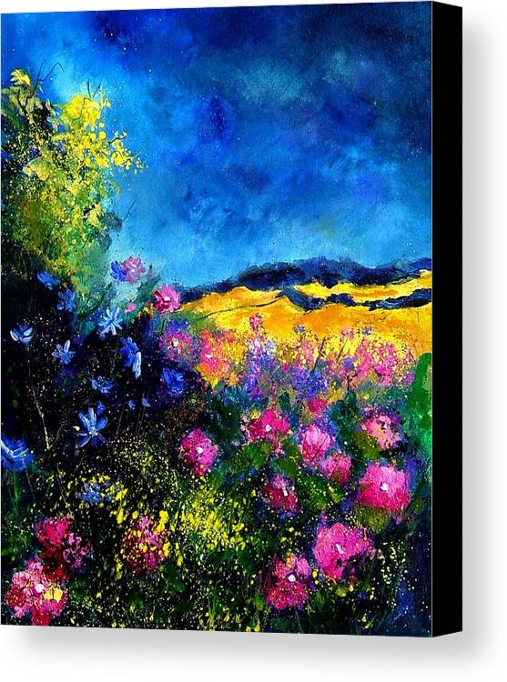 Landscape Canvas Print featuring the painting Blue And Pink Flowers by Pol Ledent