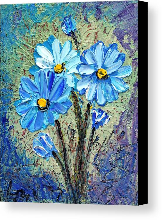 Flowers Canvas Print featuring the painting Blue Flowers by Luiza Vizoli