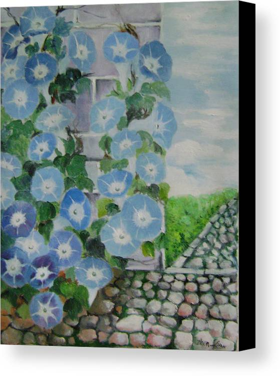 Floral Canvas Print featuring the painting Blue Wall by Lian Zhen