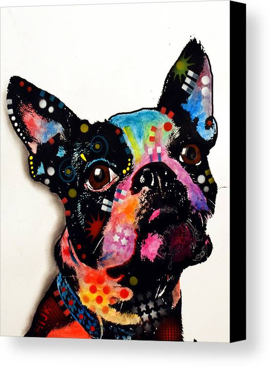Boston Terrier Canvas Print featuring the painting Boston Terrier II by Dean Russo