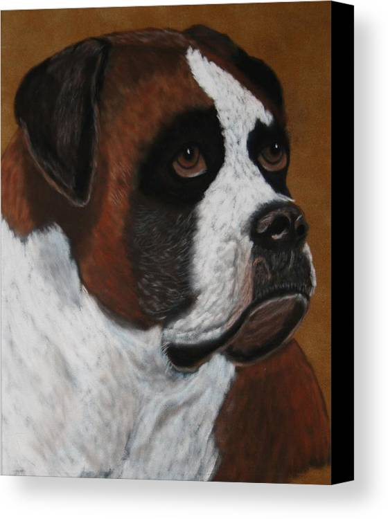Boxer Paintings Canvas Print featuring the painting Buddy by Lori DeBruijn