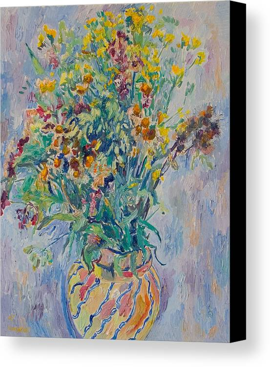 Wild Flowers Canvas Print featuring the painting Bunch Of Wild Flowers In A Vase by Vitali Komarov