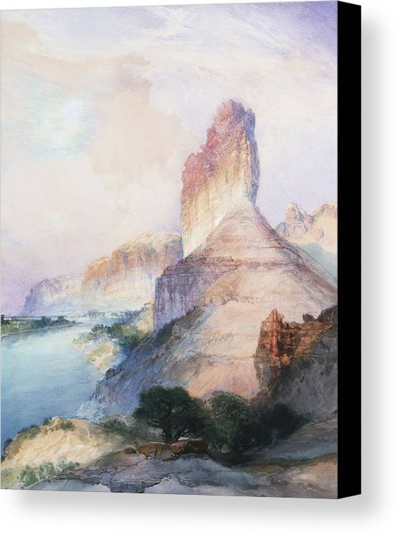 Thomas Moran Canvas Print featuring the painting Butte Green River Wyoming by Thomas Moran
