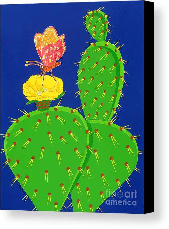 Nature Canvas Print featuring the drawing Cactus And Butterfly by Lucyna A M Green