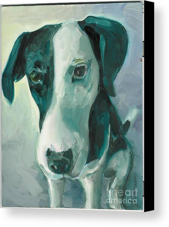 Dog Canvas Print featuring the painting Can I Help by Linda Vespasian