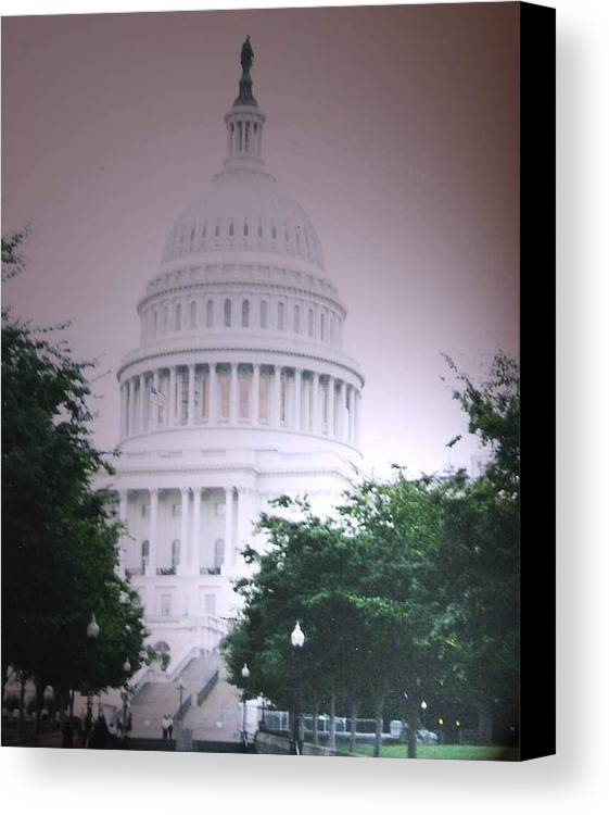 Capitol Canvas Print featuring the photograph Capitol In Pink by Pharris Art