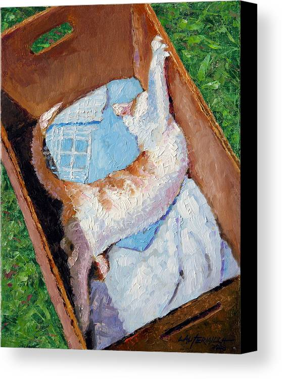 Kitten Canvas Print featuring the painting Cat In A Box by John Lautermilch