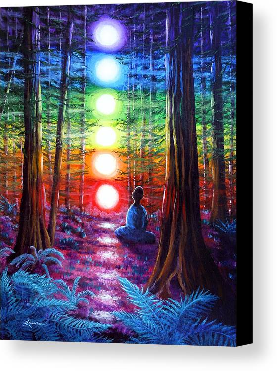 Chakra Meditation In The Redwoods Canvas Print Canvas