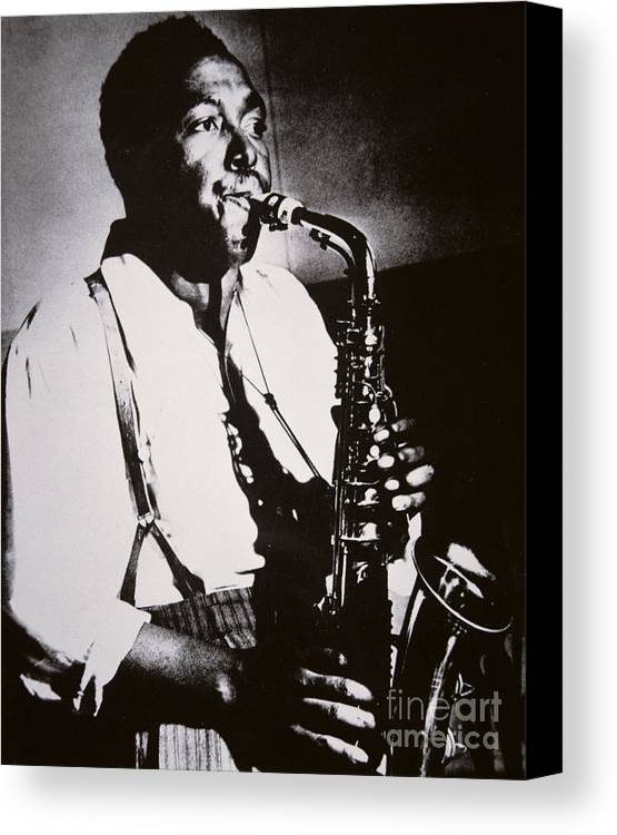 Male; Half Length; Saxophone; Musician; Musical; Instrument; Music; Black; Negro; African American; African-american; Portrait; Jazz; Saxophonist; Braces; Composer; Nickname Yardbird; Bird; Virtuoso; Suspenders; Entertainment Canvas Print featuring the photograph Charlie Parker by American School