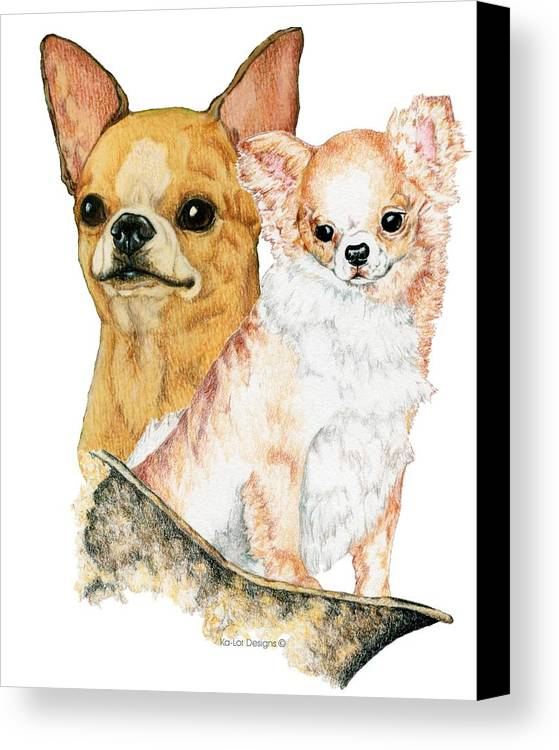 Chihuahua Canvas Print featuring the drawing Chihuahuas by Kathleen Sepulveda