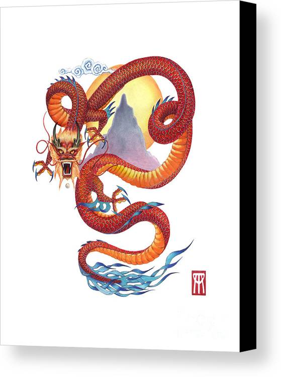 Dragon Canvas Print featuring the painting Chinese Red Dragon by Melissa A Benson