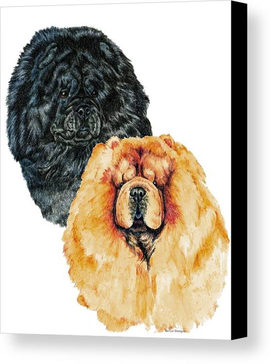 Chow Chow Canvas Print featuring the painting Chow Chows by Kathleen Sepulveda