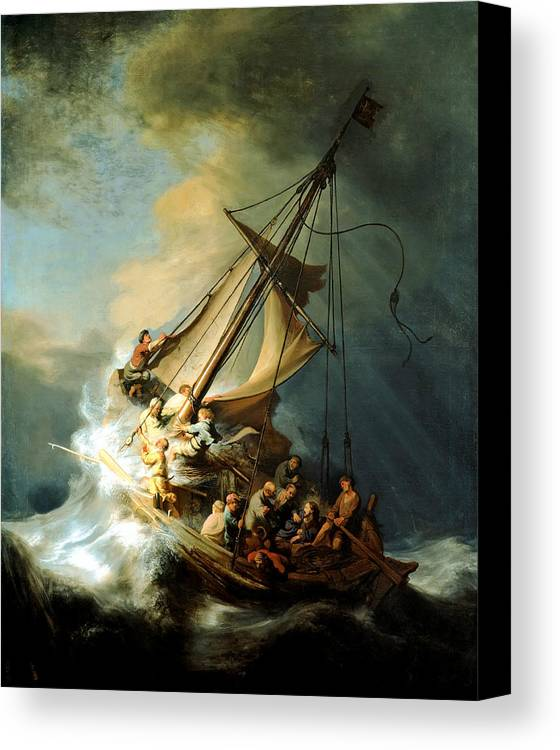 Christ In Storm Canvas Print featuring the painting Christ In The Storm by Rembrandt